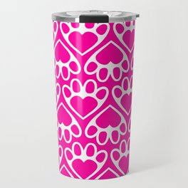 Paw Prints on my Heart - in Magenta Travel Mug