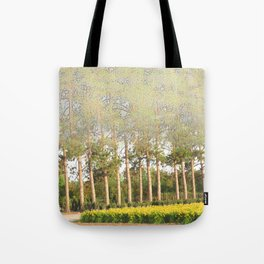 Daylily Stella d'Oro Hemerocallis Landscape Abstract Trees Tote Bag