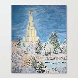 Idaho Falls Idaho LDS Temple Winter Snow Canvas Print