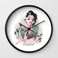 bonjour Wall Clocks featuring Bonjour by LisaArtWork
