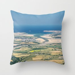 Aerial Views over North Cornwall - Padstow and Rock Throw Pillow