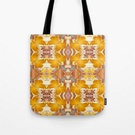 Golden Orange Floral Boho Kalidescope Print Tote Bag