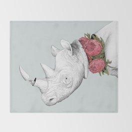 White Rhino with Proteas Throw Blanket