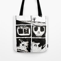 death Tote Bags featuring Death by Lee Grace Illustration