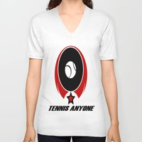 tennis V-neck T-shirts featuring TENNIS  by Robleedesigns