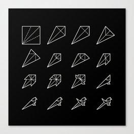 Origami Bird - Step by Step (White) Canvas Print