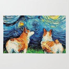 Corgi in Starry Night Rug