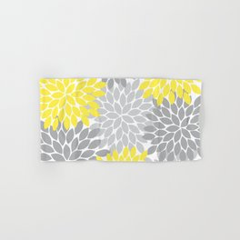 Yellow Gray Flower Burst Petals Floral Pattern Hand & Bath Towel