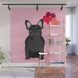 French Bulldog valentines day love balloons hearts black frenchie must have gifts Wall Mural
