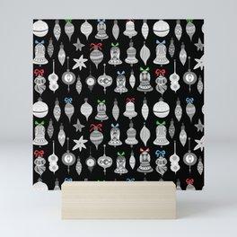 Christmas Ornaments - black Mini Art Print