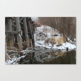 Winter River-Train Bridge Photo  Canvas Print