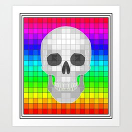 Ranbow Skull Art Print