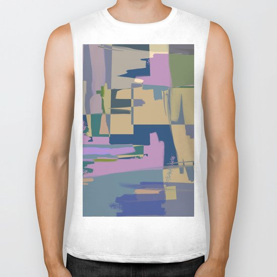 Pale Existence - Abstract, pastel purple, blue, mustard and green painting Biker Tank
