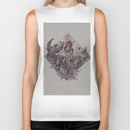 Starlings and Iris Field Biker Tank