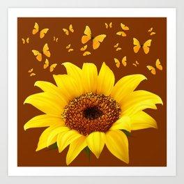 COFFEE BROWN YELLOW SUNFLOWER & BUTTERFLIES Art Print