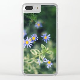 Blue and Yellow Flowers Clear iPhone Case