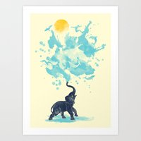 splash Art Prints featuring summer splash by Steven Toang