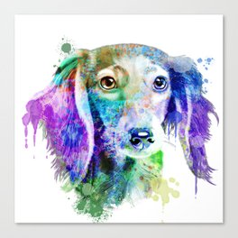 Dachshund watercolor, Watercolor Dachshund, Watercolor dog, Dachshund portrait Canvas Print