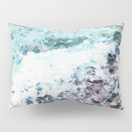 Waves lap at the shore - painting - art gift - abstract Pillow Sham