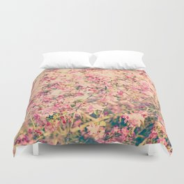 Vintage Pink Crabapple Tree Blossoms in the Sun Duvet Cover