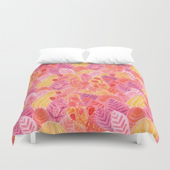 Coral Leafs Duvet Cover