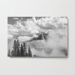 Half Dome in the Clouds, Yosemite National Park, Yosemite Photography, Black and White Photography Metal Print