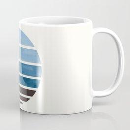 Blue Green Mid Century Modern Minimalist Circle Round Photo Staggered Sunset Geometric Stripe Design Coffee Mug