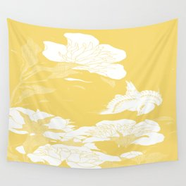 japanese flowers. Yellow Wall Tapestry