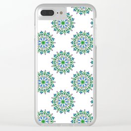 Mandala - cool colours Clear iPhone Case