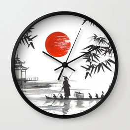 Japanese Landscape with Red Sun and Fisherman Wall Clock
