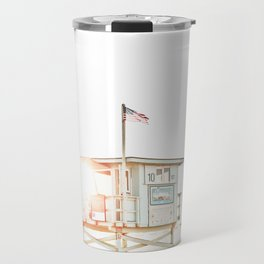 Pelicans Over the 10th Street Lifeguard Tower Travel Mug
