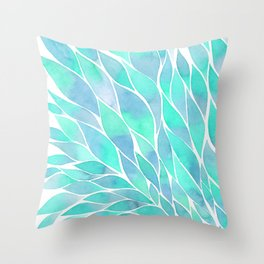 Blue watercolor feathers Throw Pillow