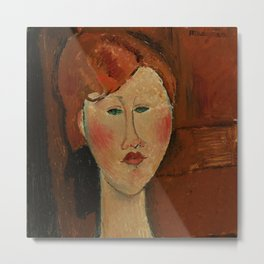 """Amedeo Modigliani """"Femme aux cheveux rouge (Woman with Red Hair)"""" Metal Print"""