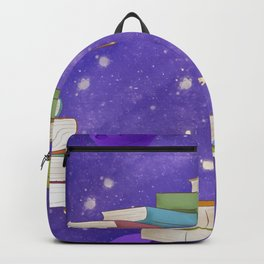 Girl Walking On Books Backpack
