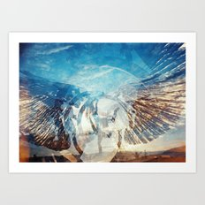 Solar Eclipse Flight - Silver Wings Art Print