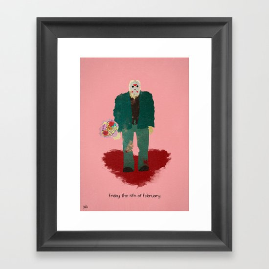 Friday the 14th of February (Monsters in Love) Framed Art Print