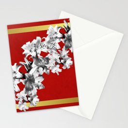 Lilies, Lily Flowers on Red Stationery Cards