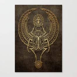 Stone Winged Egyptian Scarab Beetle with Ankh Canvas Print