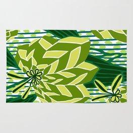 BAYAMO: GREEN SCENE, Art Deco Tropical Rug
