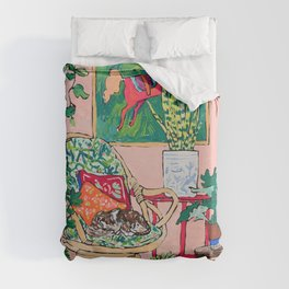 Napping Tabby Cat in Cane Chair in Pink Room with Horse Painting Duvet Cover