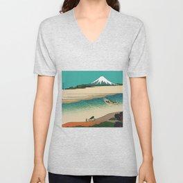 Tama River and Mount Fuji Unisex V-Neck