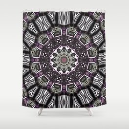 Mandala in black and white with hint of purple and green Shower Curtain