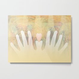 Healing Hands Yellow Metal Print