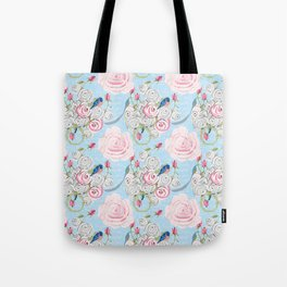 Bluebirds and Watercolor roses on pale blue with white French script Tote Bag