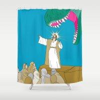 jesus Shower Curtains featuring Jesus, Etc. by Jon Stick
