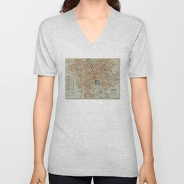 Vintage Map of Rome Italy (1911) Unisex V-Neck