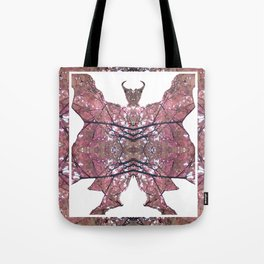 Horned Man V2 cut from Tree Leaf Photo 801 Fractal, with wings and hoofed feet. Tote Bag