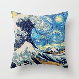 Starry (Great Wave) Night Throw Pillow