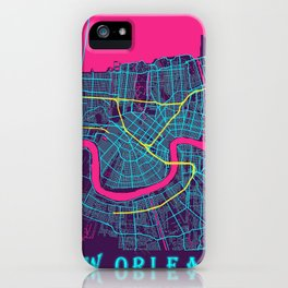 New Orleans Neon City Map, New Orleans Minimalist City Map iPhone Case