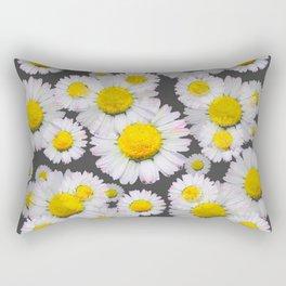 CHARCOAL GREY GARDEN OF SHASTA DAISY FLOWERS Rectangular Pillow